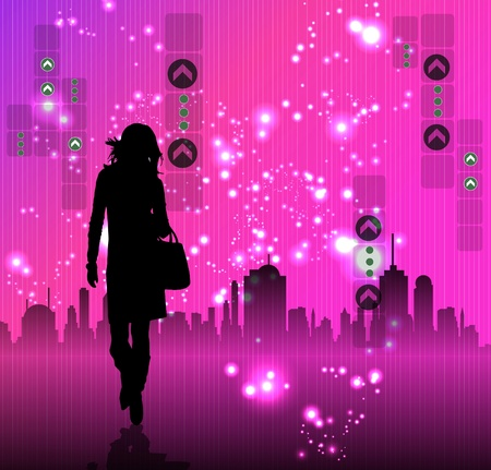 Young woman and the city Stock Vector - 10909884