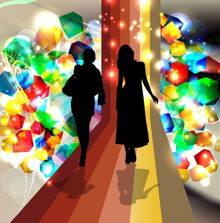 transparent dress: Woman with Colorful 3d glass cubes in background.