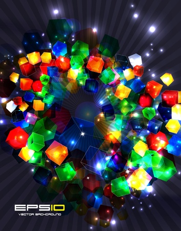 Colorful 3d glass cubes. background  Vector