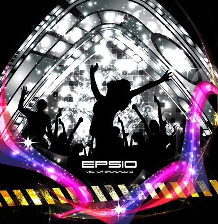nightclub crowd: Music event background. illustration.  Illustration