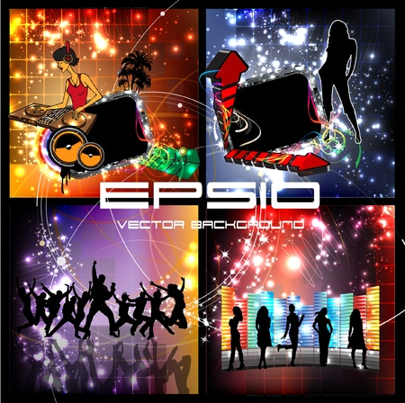 Discotheque illustration set Vector