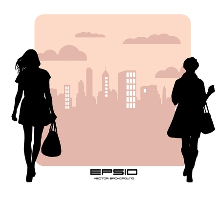 Young people and city in background  Vector