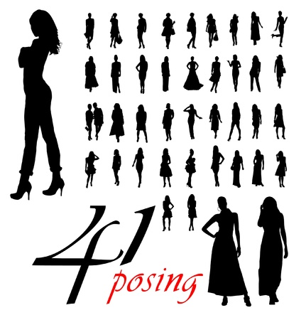 High quality traced posing woman silhouettes. Illustration