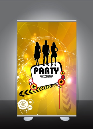 Roll-up with music event subject  Vector
