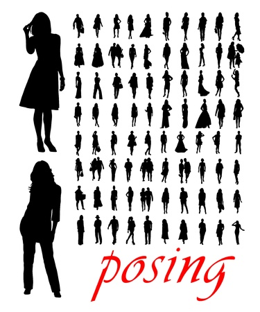 artistic woman: High quality traced posing woman silhouettes. Vector illustration Illustration