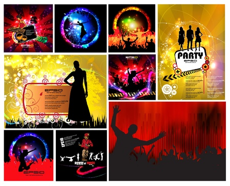 Set of music illustrations Vector