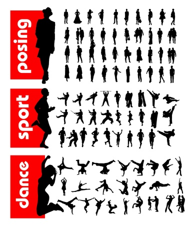 exaltation: High quality traced posing people silhouettes. Vector illustration Illustration