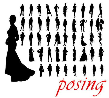 adolescent sexy: posing silhouettes illustration