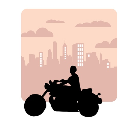 Vector drawing silhouettes road motorcycle  Vector