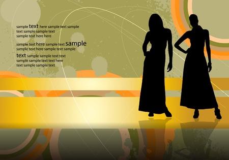 Beautiful women silhouette Stock Vector - 11268000