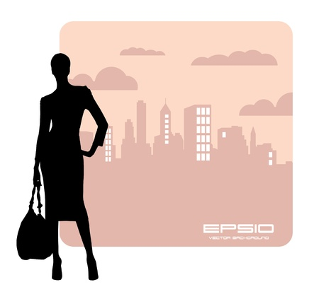 Young woman and the city Vector