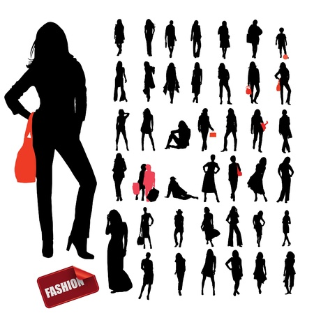 High quality traced posing woman silhouettes.  Ilustracja