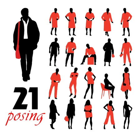 sexy male model: High quality posing silhouettes. Vector illustration