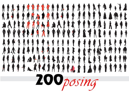 High quality posing silhouettes. Vector illustration  Vector