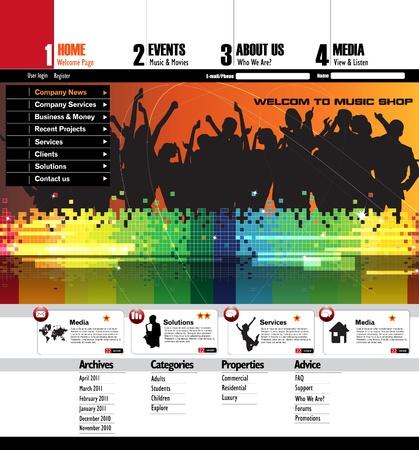 EPS10 Music Website Template - Vector Design