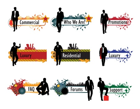 banner with businessman Stock Vector - 11439781