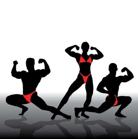sculpted: Vector illustration of muscle people