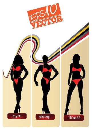 Banners set with bikini girls Vector