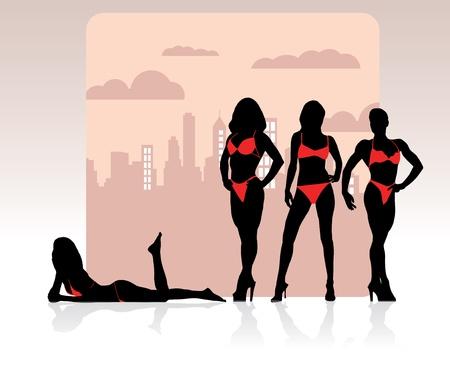 prostitute: Bikini girls  Illustration