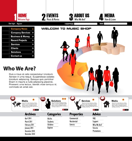 web site design: Business people website background