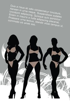 prostitue: Bikini meisjes Stock Illustratie
