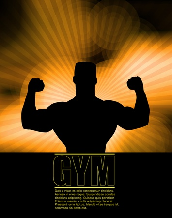sexy muscular man: Bodybuilding. Vector illustration