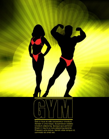 perfect body: Bodybuilding. Vector illustration