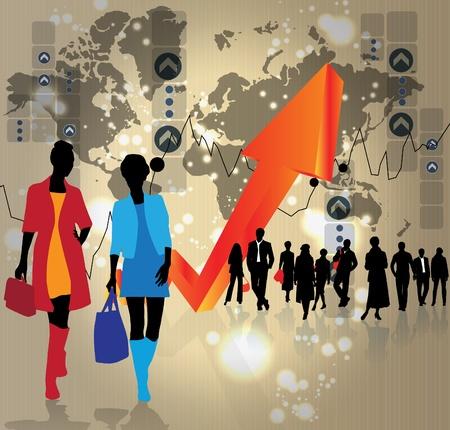 black people: Business people background Illustration