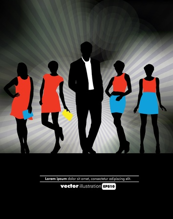 Businessman and sexy women Vector