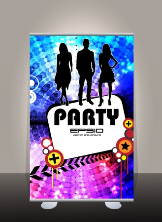 Roll up banner. Vector template background  Vector