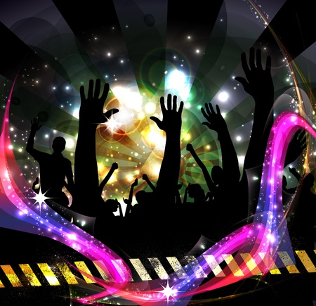 nightclub bar: Crowd of party people Illustration