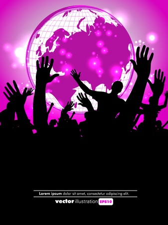 Crowd of party people Stock Vector - 12150481