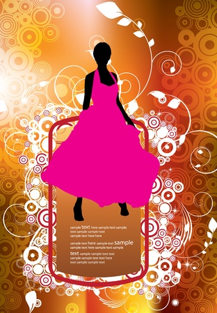 Beautiful woman silhouette Stock Vector - 12150484