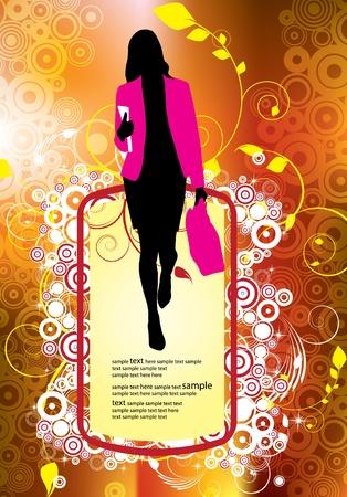 Beautiful woman silhouette Stock Vector - 12150486