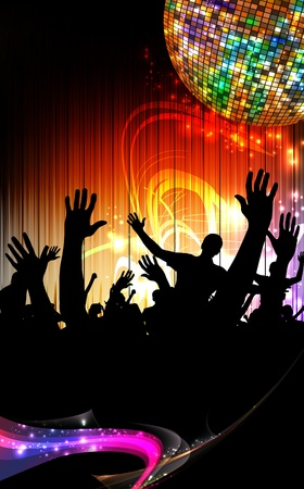 dubstep: Group of people. Crowd infront of a stage. Vector  Illustration
