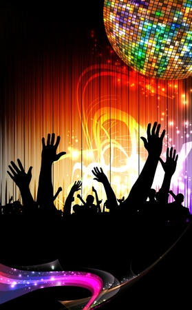 rave: Group of people. Crowd infront of a stage. Vector  Illustration