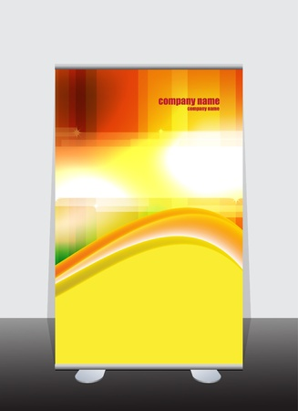 Banner stand display with identity background ready for use Vector