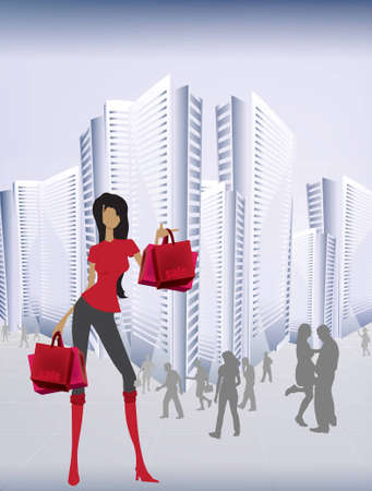 Girl with shopping bag Vector