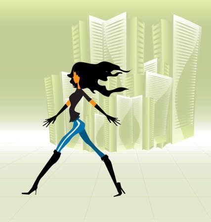 Girl walking Vector