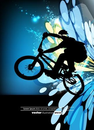 buiten sporten: Man met BMX-fiets