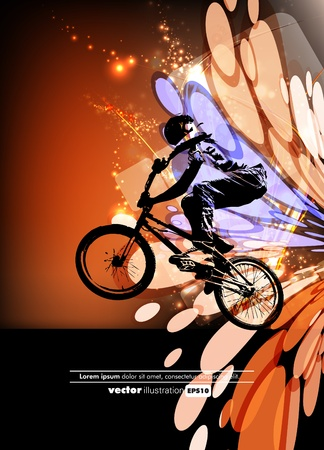 Man with BMX bike Vector