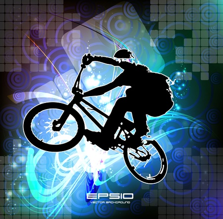 bicycle pedal: Vector of BMX cyclist