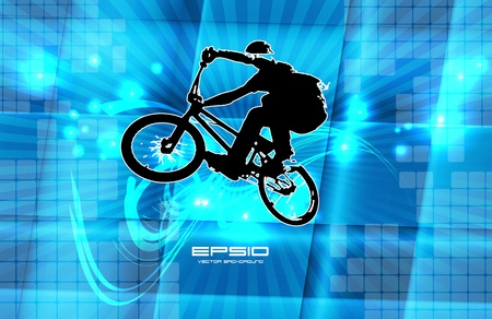 Man with bike Vector