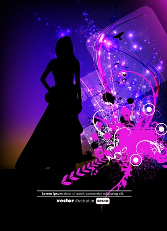 Beautiful woman silhouette Stock Vector - 12889492