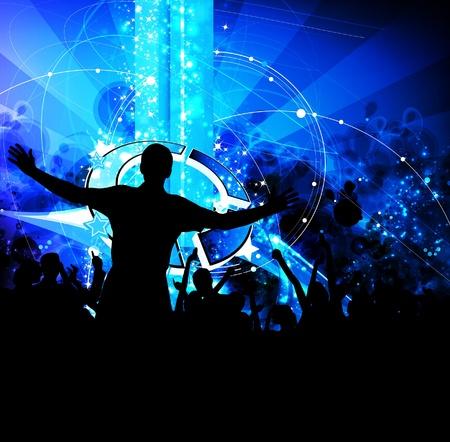 nightclub crowd: Music event illustration