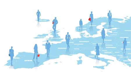 유럽: 유럽의지도 함께 비즈니스 그림 일러스트