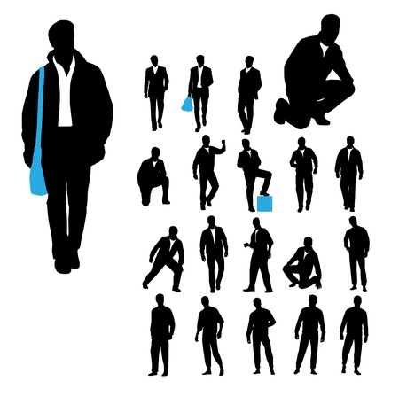 silueta masculina: Hombres siluetas sobre fondo blanco