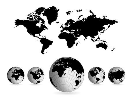 pacífico: Mapa do mundo Ilustração