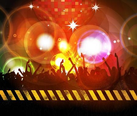 nightclub crowd: Music background illustration