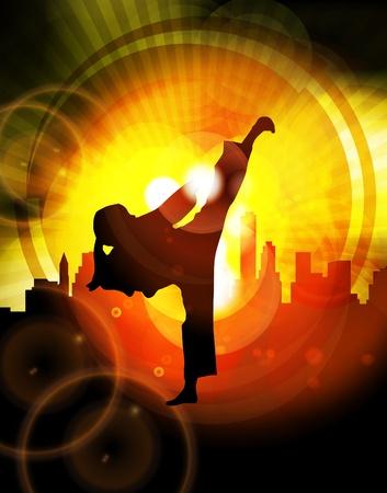 karate fighter: Illustration of karate